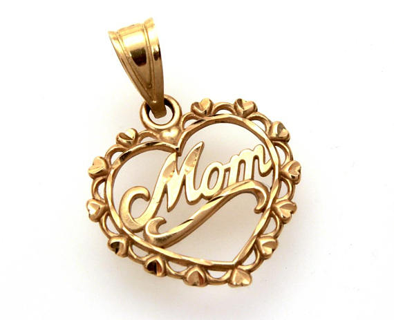 Vintage 14k Yellow Gold Mom Heart Pendant