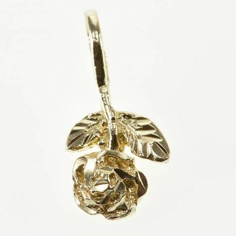 14k Mini Texture Rose Pendant