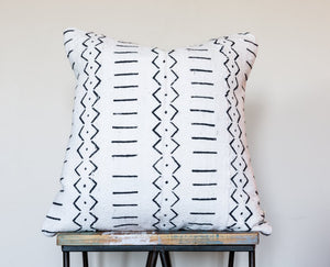 "Authentic White African 18"" Mud Cloth Pillow"