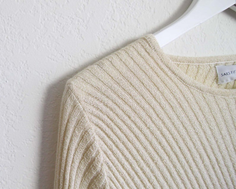 Vintage Saks Fifth Avenue Rib Knit Long Sleeve Sweater