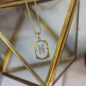 Vintage 14K Yellow Gold and Diamond 'N' Initial Pendant