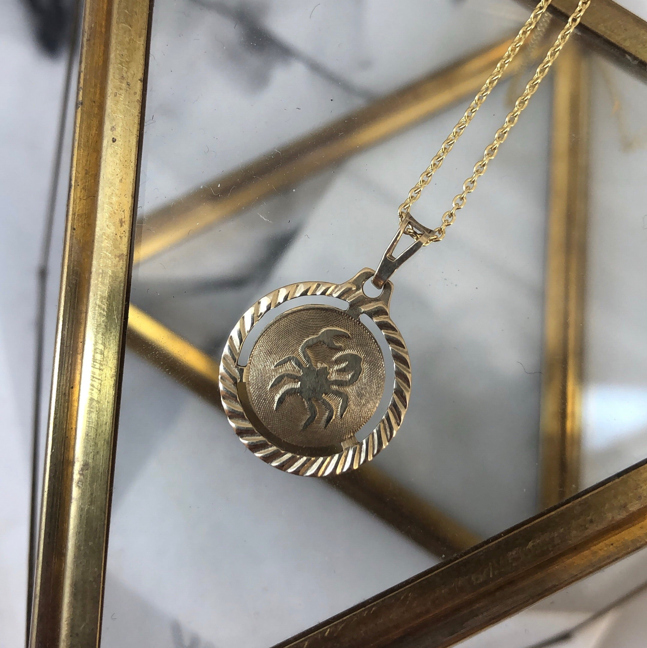Vintage 10K Yellow Gold Cancer Zodiac Pendant
