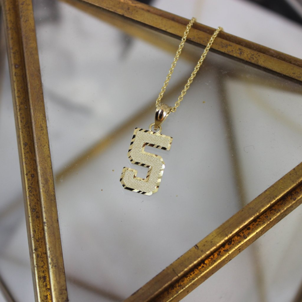 14k Yellow Gold Mini Number Pendant