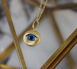 Vintage 18kt Yellow Gold Small Evil Eye Protection Pendant