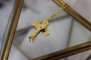 Vintage 18k Yellow Gold Emerald Spanish Cross Pendant