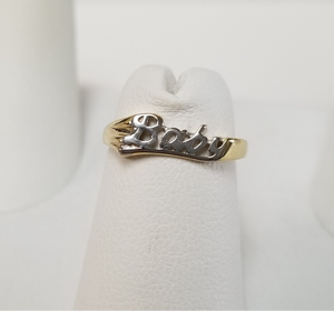 Vintage 10k Yellow and White Gold 'Baby' Pinky Ring