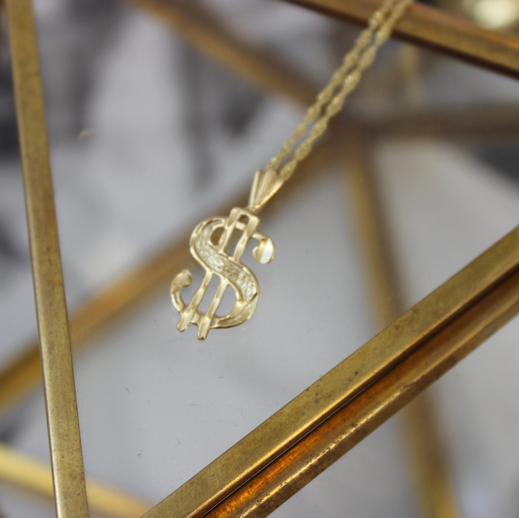 Vintage 14k Yellow Gold Money Sign Pendant