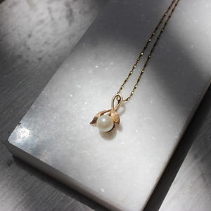 Vintage 14k Yellow Gold Pearl & Leaf Drop Pendant