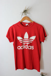 Vintage Adidas Double Logo Red Tee