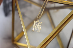 "Vintage 14K Yellow Gold Filigree Initial ""M"" Pendant"