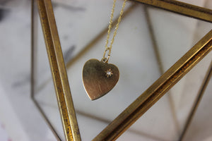 Vintage 14k Yellow Gold and Diamond Heart Pendant