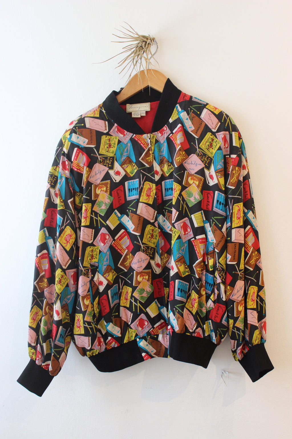 Vintage Mathcbook Print Oversized Bomber Jacket
