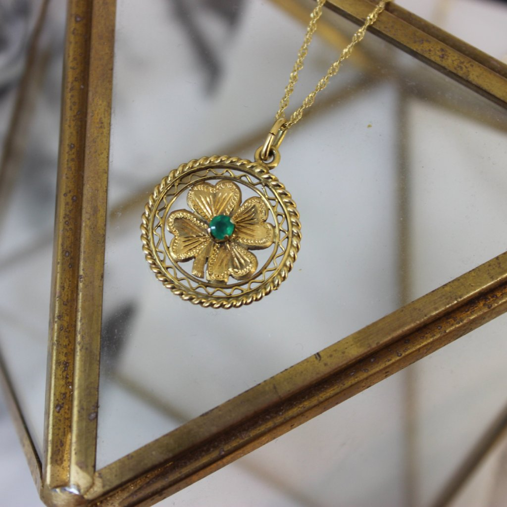 Vintage 14K Yellow Gold and Emerald Four Leaf Clover Pendant