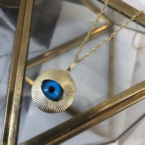 Vintage 9kt Yellow Gold Large Evil Eye Protection Pendant