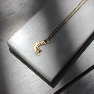 Vintage 10k Yellow Gold Crescent Moon & Star Pendant