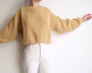 Vintage Knit Cropped Gold Sweater