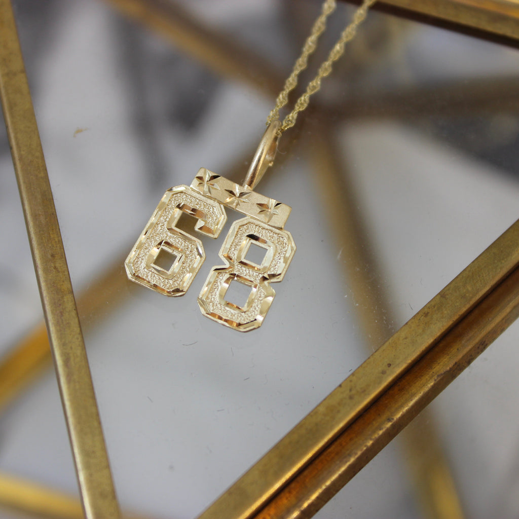 Vintage 14K Yellow Gold Number 68 Pendant