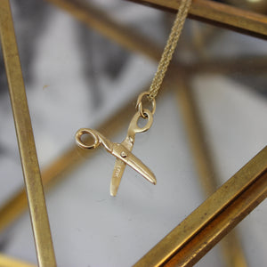Vintage 14k Yellow Gold Movable Scissor Pendant