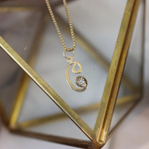 Vintage 14K Yellow Gold and Diamond 'C' Initial Pendant