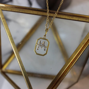 Vintage 14K Yellow Gold and Diamond 'M' Initial Pendant