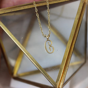 Vintage 14k Yellow Gold 'C' Initial Pendant