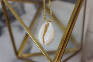 Large Natural Cowrie Shell Pendant
