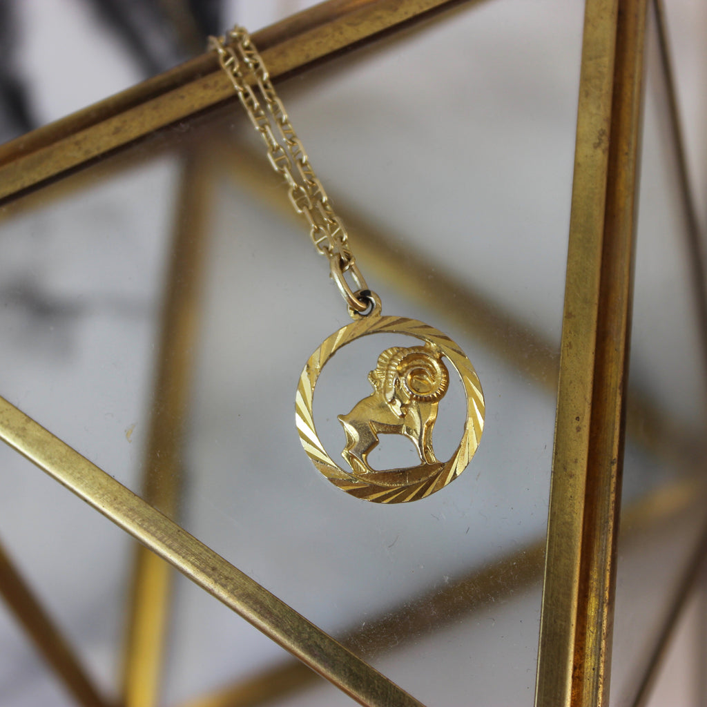 Vintage 14K Yellow Gold Encircled Aries Zodiac Pendant