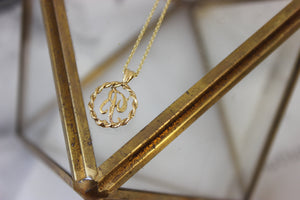 Vintage 14k Yellow Gold Round 'R' Initial Pendant