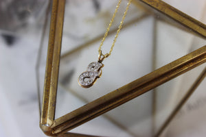 Vintage 14k Yellow Gold and Diamond 'J' Initial Pendant