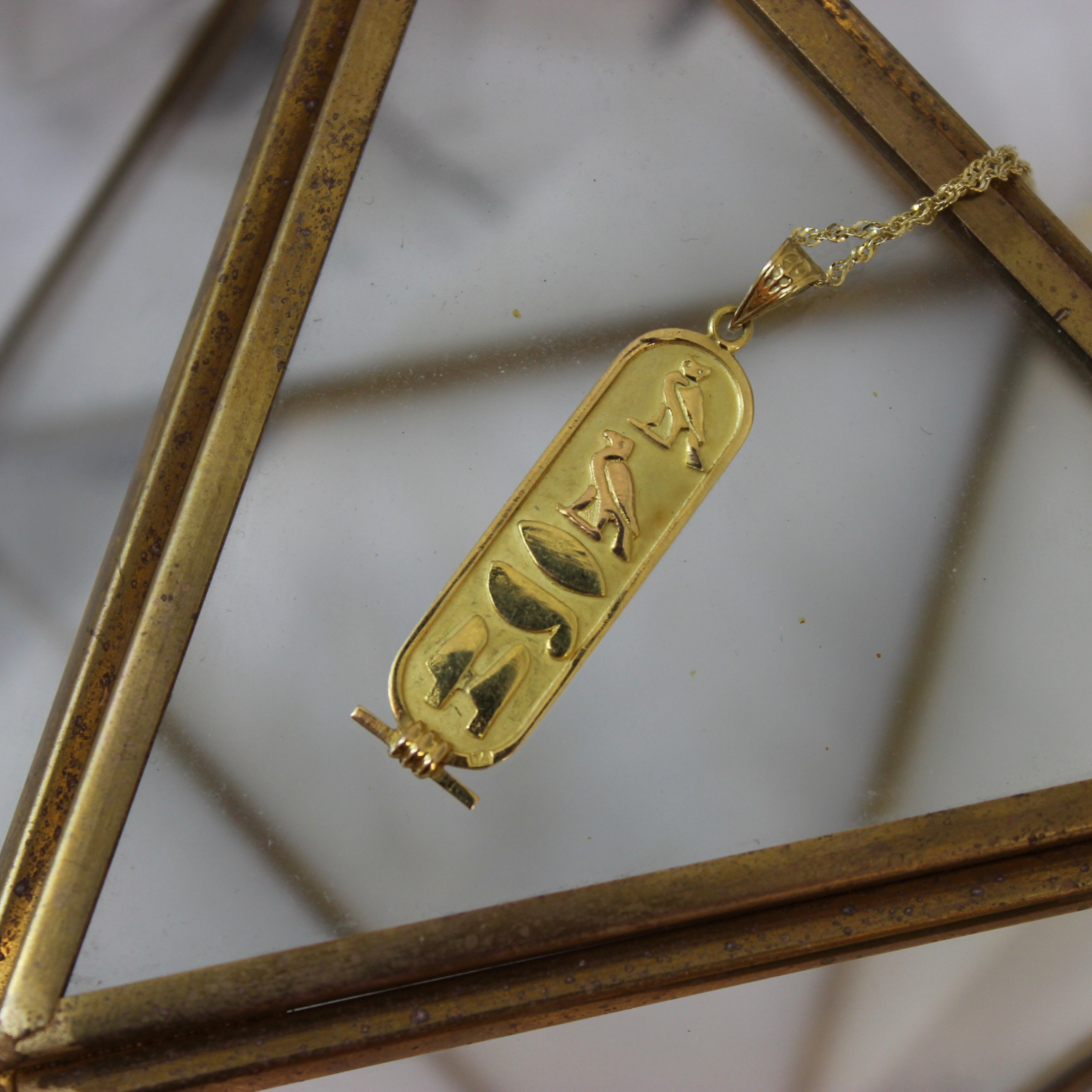 Vintage 18k Yellow Gold Egyptian Cartouche Pendant