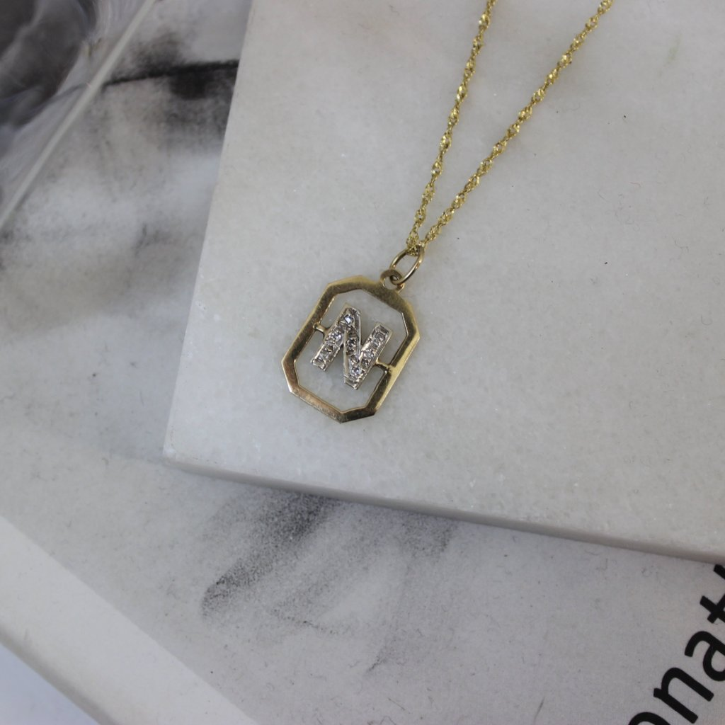 Vintage 14K Yellow Gold and Diamond N Pendant