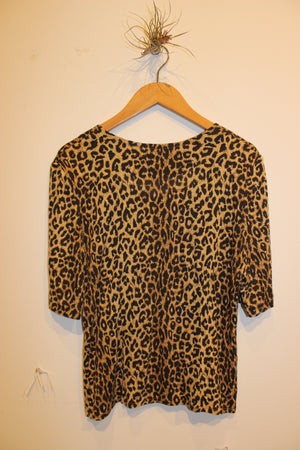Vintage Leopard Short Sleeve Button Blouse