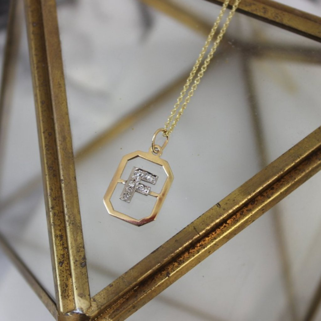 Vintage 14K Yellow Gold and Diamond F Pendant
