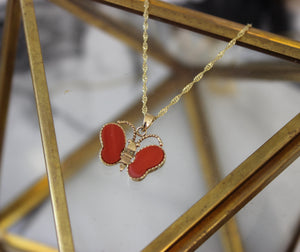 Vintage 14k Yellow Gold Orange Butterfly Pendant