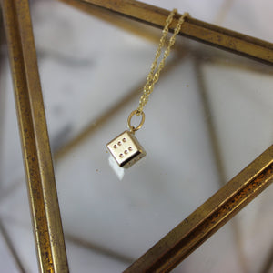 Vintage 14k Yellow Gold Dice Pendant