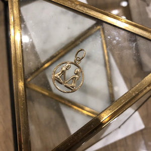 Vintage 9K Yellow Gold Twin Gemini Pendant