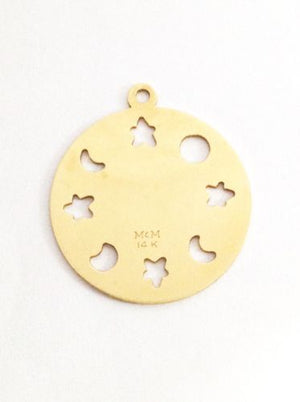 Vintage 14K Yellow Gold Virgo Zodiac Pendant