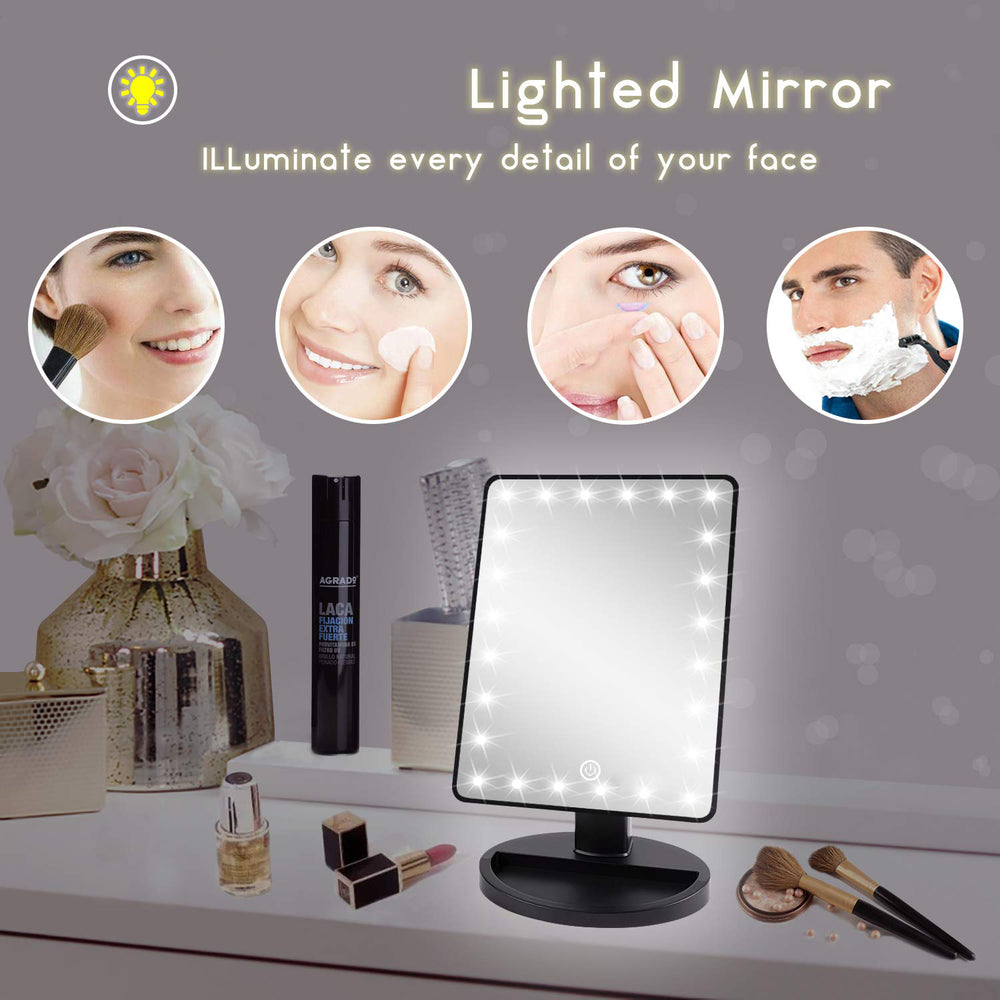 LED Travel Makeup Mirror with Lights, Battery Operated, Black