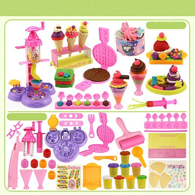 Playdough Slime mold tool kit for children ice cream toy color clay  non-toxic Blocks -  TB