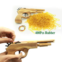 Unlimited bullet Classical Rubber Band Launcher Guns - Wooden Hand Pistol outdoors Fun Sports For Kids