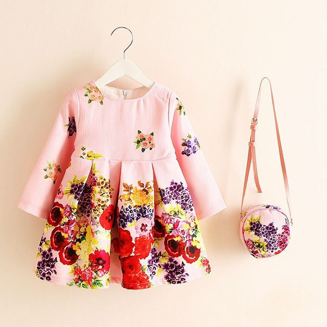 Floral Print Girls Clothing Dress with Matching Purse