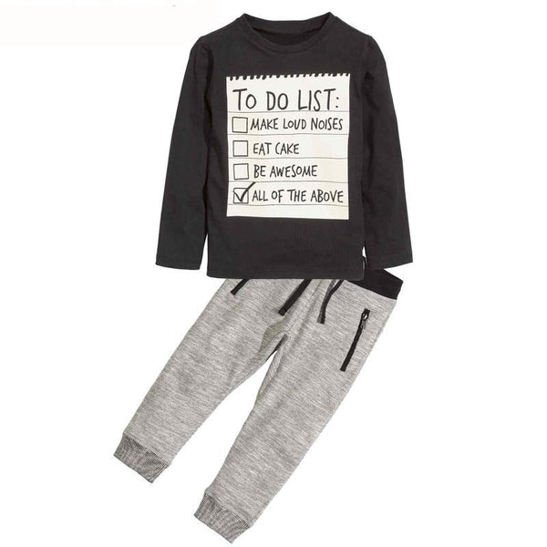 Boys Clothes Dark Grey long sleeve t-shirt + casual long pants 2pcs