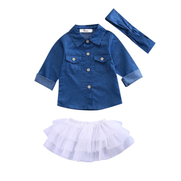 Toddler Kids Girl Clothes Set Denim Tops T-shirt +Tutu Skirt + Headband - Girls Clothes