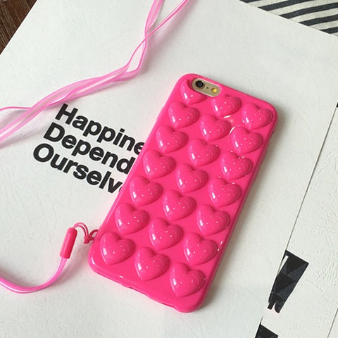 Love Heart Jelly Candy Soft Silicon TPU Back Cover With Lanyard Phone Case For iphone 5 5S SE 6 6S 7 Plus smartphone covers