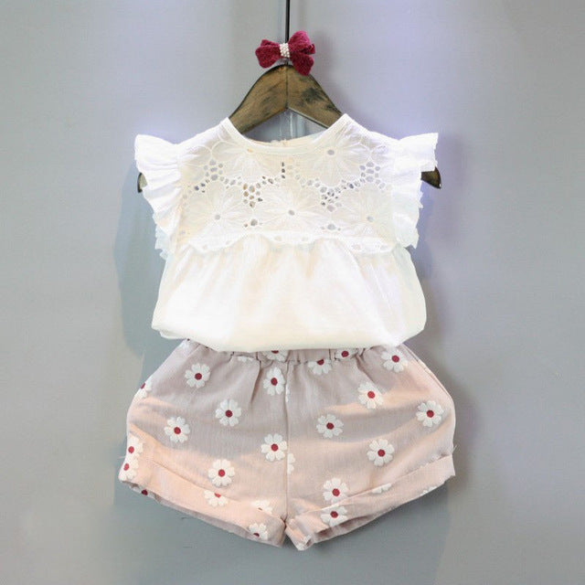 2pcs Girls Summer Outfits Lace Tops Floral Shorts- Girls Clothing