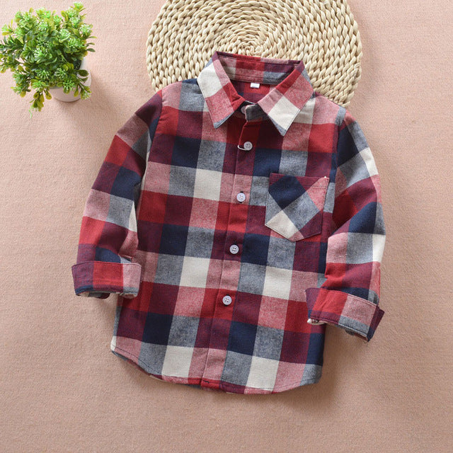 Boys Patterned Shirt Cotton  Long Sleeve - England School Trend - Boys Clothes