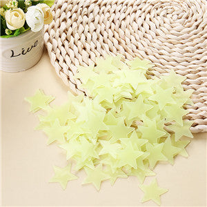 100 pcs. 3D stars glow Wall Stickers-Kids