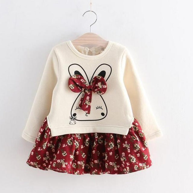 Cute Rabbit and Flowers Printed Girls Clothing Long Sleeve Dress