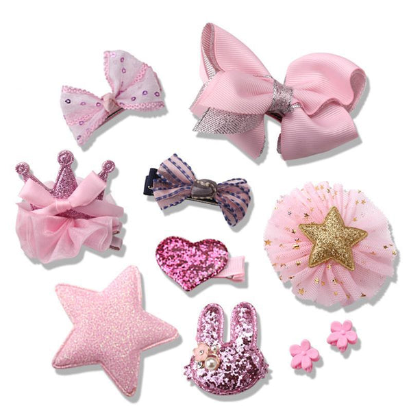 1Set=10Pcs Girls lovely Tiaras Hair Clips - Girls Clothes