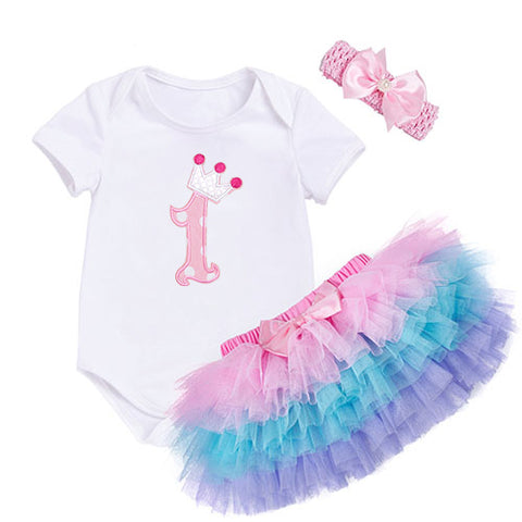Girls Clothing Baby 1st Birthday Set Short Sleeve Romper Pettiskirt Girls 3 Pcs
